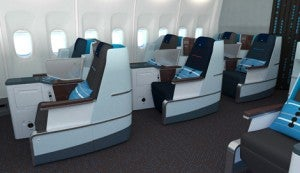 The seating resembles United's BusinessFirst.