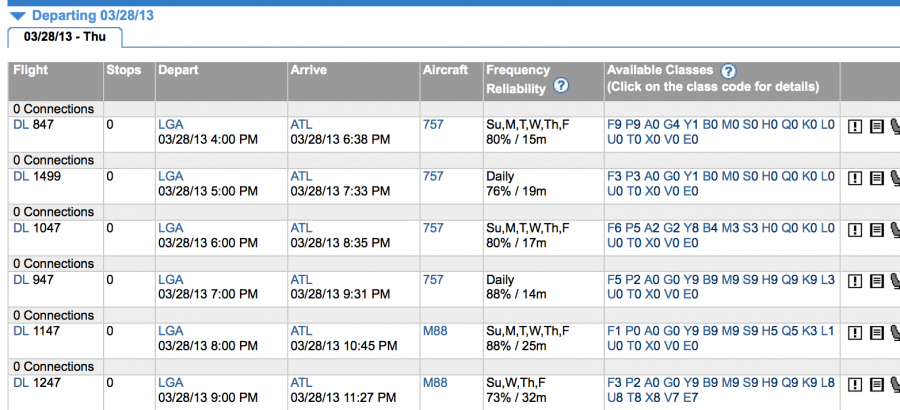 Laguardia- Atlanta current fare availability