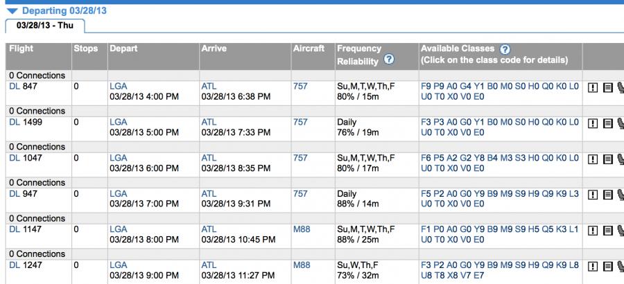 Laguardia- Atlanta current fare availability