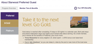 Gold status entitles you to perks like points bonuses and free internet.