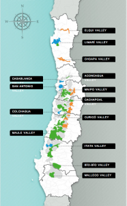 The various wine regions of Chile.