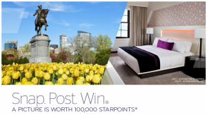 Enter to win 100,000 SPG points through their Facebook contest.