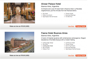 Rates are much higher at certain hotels like these in Buenos Aires - giving you more value for your redemption.