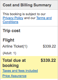 My whole ticket cost just $339.
