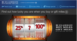 Members can receive up to 100% bonus miles on US Air through March 31, 2013
