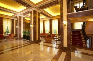 Lobby area at the Crowne Plaza Prague.