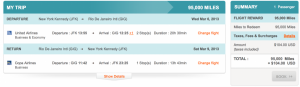 NYC to Rio for in business class for 95,000 miles and $100