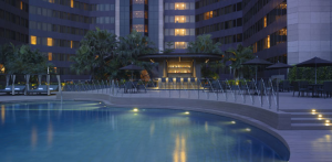 Outdoor pool area at the Grand Hyatt Taipei.