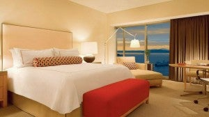Bay view king guest room at the Four Seasons Seattle.