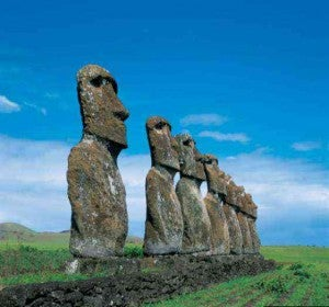 Mother/Son bonding with Easter Island Moai