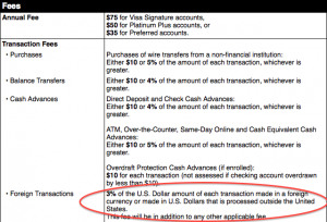 Be sure to read your credit card's terms and conditions for the disclosure of foreign exchange fees.