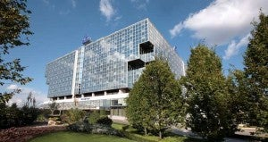 The Hilton Prague Hotel occupies a boxy glass structure in the Old Town.