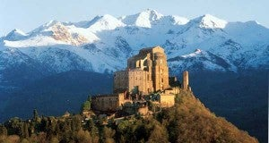 One of the many castles of Piedmonte with a backdrop of the Alps.