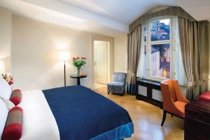 Premier castle view king guest room at the Mandarin Oriental, Prague.