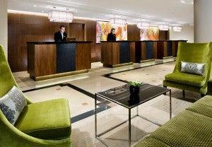 Guest reception at the Prague Marriott.