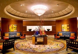 Spacious lobby area at the Seattle Marriott Waterfront.