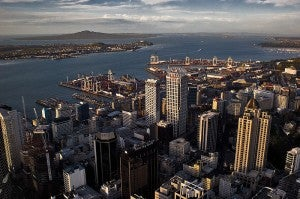 Aerial shot of downtown Auckland.