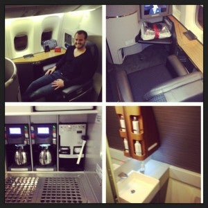 First class experience- including espresso machine- a first for American