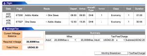 Ethiopian Airlines Addis Ababa-Dire Dawa Economy Award