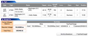 Ethiopian Airlines Addis Ababa-Washington (Dulles) Business Award