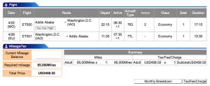 Ethiopian Airlines Addis Ababa-Washington (Dulles) Economy Award