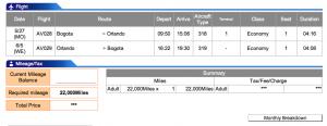 Avianca Airlines Bogota-Orlando Economy Award