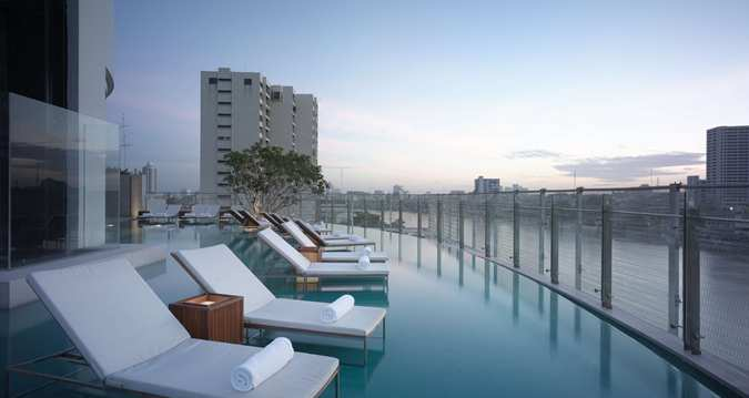 Infinity Pool at the Millennium Hilton Bangkok Hotel.