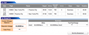 Copa Airlines New York (JFK)- Panama City Business Award