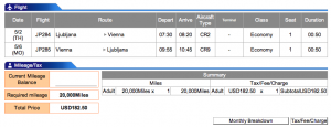 Adria Airways Ljubljana-Vienna Economy Award