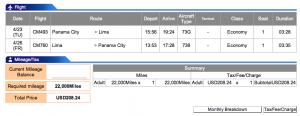 Copa Airlines Panama City- Lima Economy Award