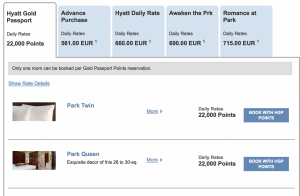 I was able to compare my options and redeem points directly through Hyatt.com.