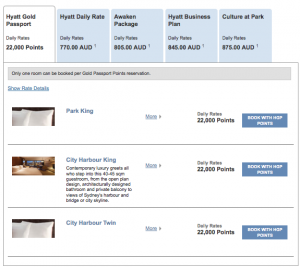 Park Hyatt Sydney Points Rates