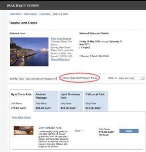 Park Hyatt Sydney rates