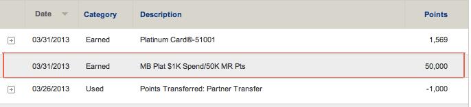 My 50k membership rewards bonus posted for my new mercedes for Mercedes benz platinum card