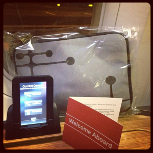 Touch pad comfort control and my packaged amenity kit.