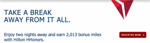 Earn 2,013 bonus miles with Hilton Hhonors.