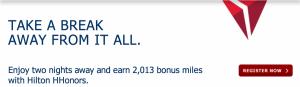 Earn 2,013 bonus miles with Hilton Hhonors.