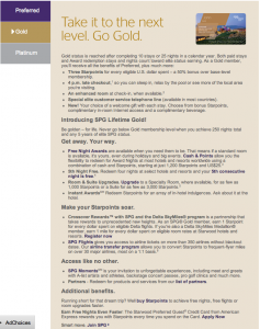 Starwood Gold benefits include Free Night Awards, late checkout, and upgrades upon availability.