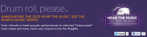 Starwood's Hear the Music Promotion.