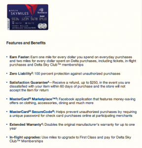 Features and benefits of the Delta SkyMiles World Check Card