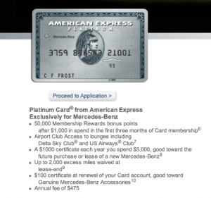 The Mercedes Benz card comes with all the same benefits of the Platinum card but also has a few extra perks.
