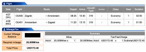 Croatia Airlines Zagreb-Amsterdam Economy Award