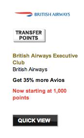 35% Membership Rewards Transfer Bonus to British Airways Avios