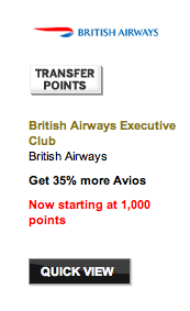 35% Membership Rewards Transfer Bonus to British Airways Avios