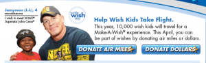 John Cena's donating miles to help out Make-A-Wish.