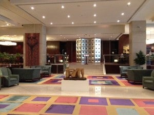 The lobby of the Sheraton Mendoza.