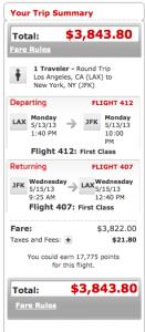 Virgin LAX JFK First 3800