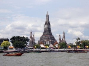 One of the city's most notable architectural landmarks is the Khmer-style Wat Arun.