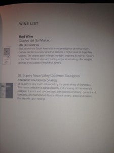 Red wine list