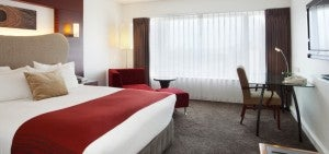 City view king guest room at the Crowne Plaza Auckland.